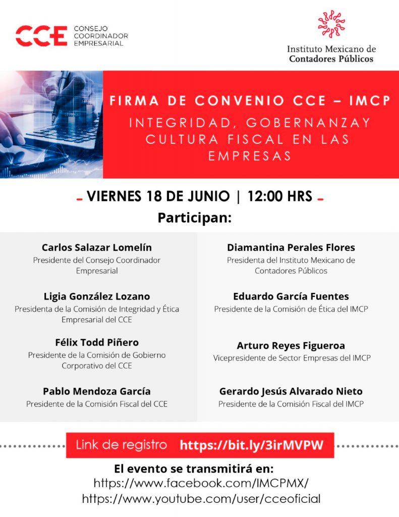 18 de junio   12:00 hrs Convenio CCE-IMCP, impulsando la legalidad