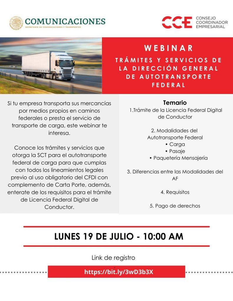 19 de julio | Trámites y servicios de la Dirección General de Autotransporte Federal