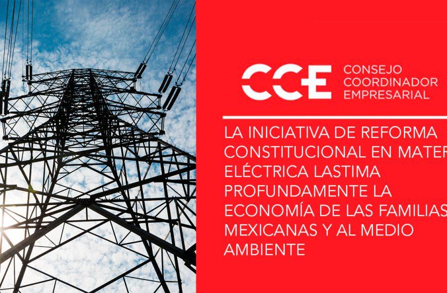 La iniciativa de reforma constitucional en materia eléctrica lastima profundamente la economía de las familias mexicanas y al medio ambiente